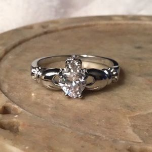 Jewelry - STAMPED S925 SILVER IRISH CZ HEART RING